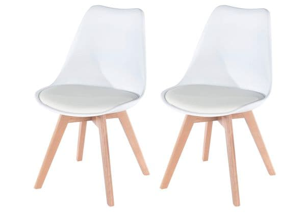 Elk White Upholstered Plastic Chair With Wooden Legs ASCH2W (Pair)
